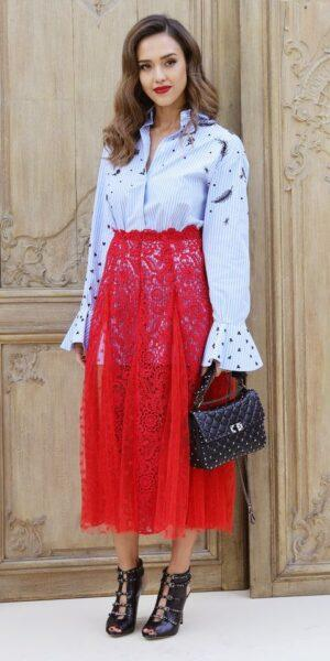 lace skirt outfit, red lace skirt