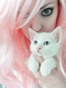 white and pink hair