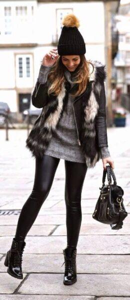 куртка, мех, модные образы 2017