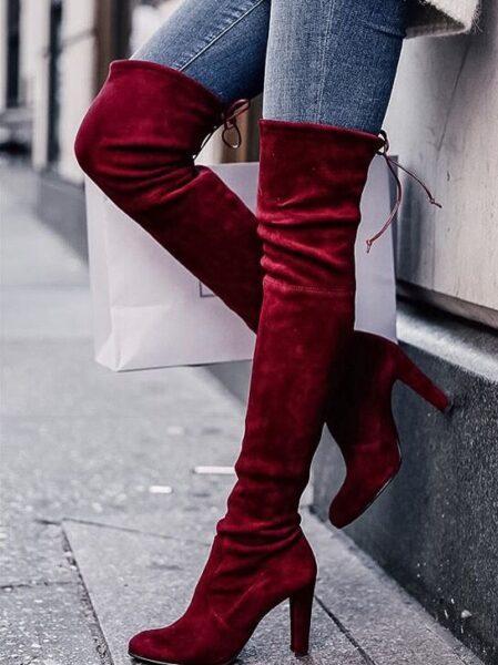модные сапоги 2017, красные ботфорты