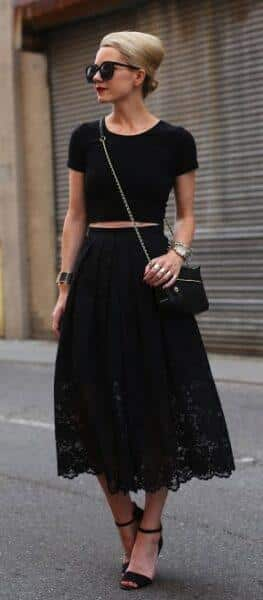 black lace skirt
