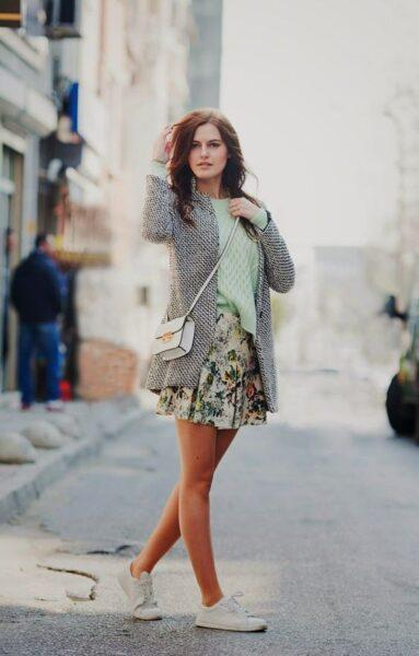 Cardigan with skirt
