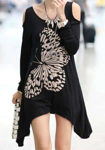 black-butterfly-print-irregular-round-neck-fashion-t-shirt