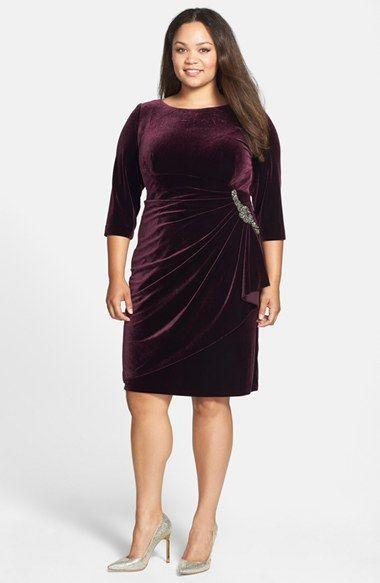 velvet draped dress plus size