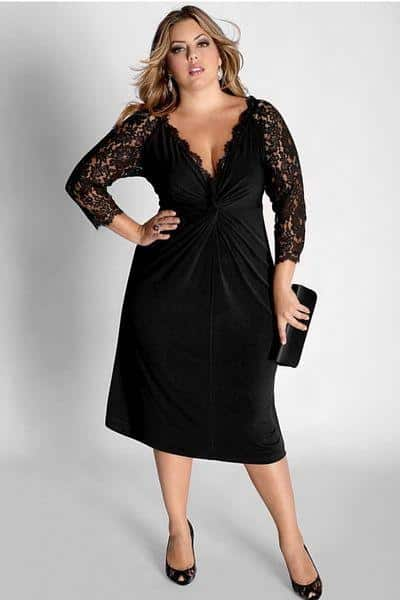 velvet plus size dress with lace insert