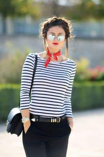how to wear a striped t-shirt