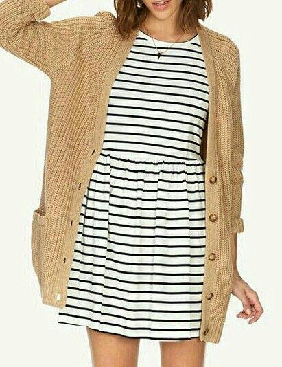 striped dress with cardigan