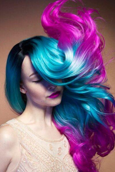 blue and lavender hair color