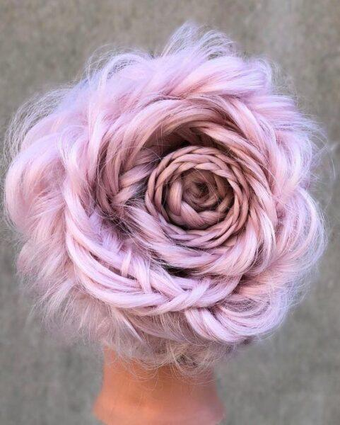 light pink hair style
