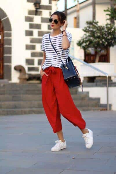 culottes with  sneakers