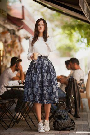 floral midi skirt and sneakers