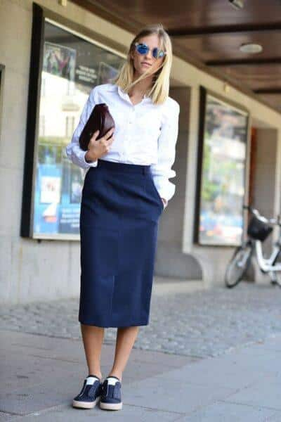 sneakers and skirt outfit