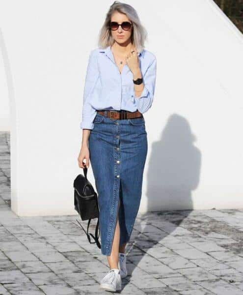 long denim skirt and sneakers