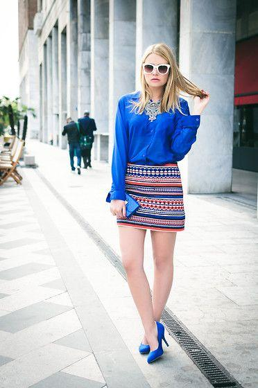 blue shoes with skirts