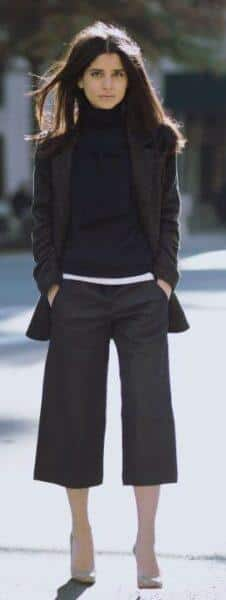 winter culottes outfit