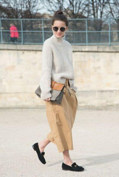 culottes with sweater