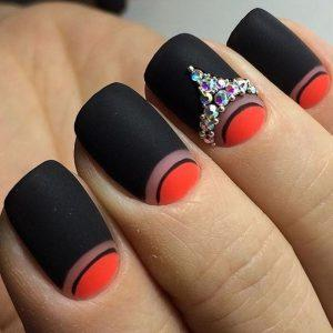 Black and red nails with rhinestones