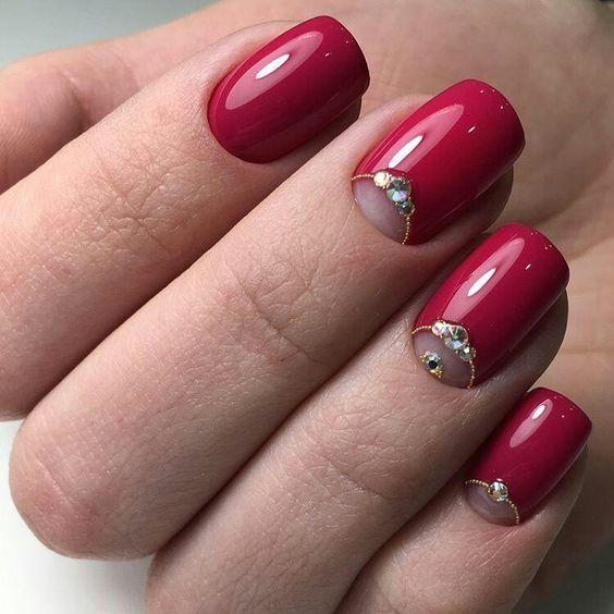 rhinestones on red nails