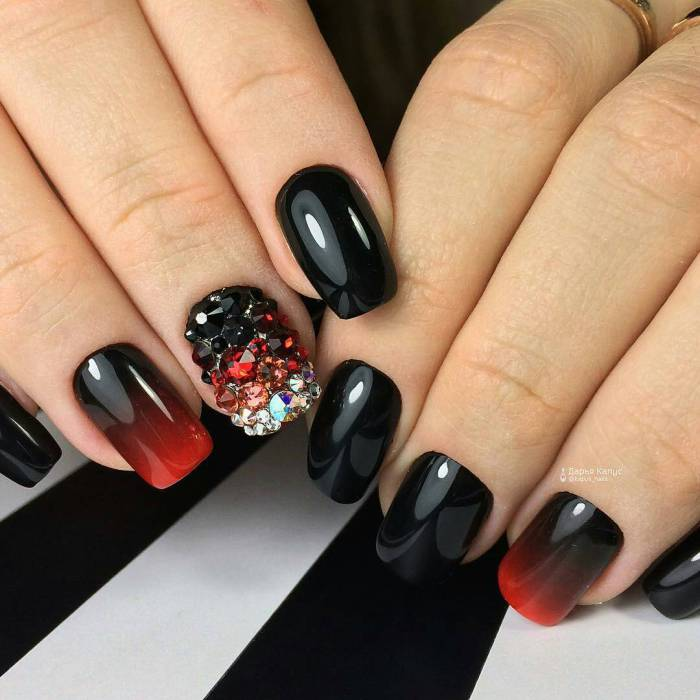 Black and red ombre with rhinestones