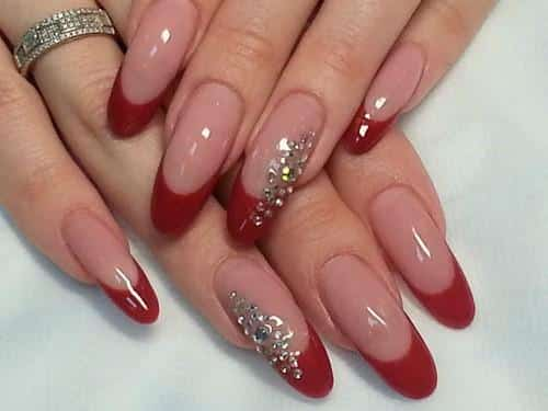 Red french with rhinestones