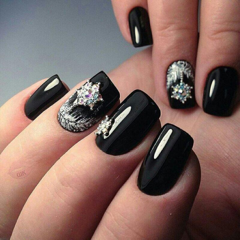 Black lacquer with rhinestones and sequins