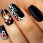 Black Nails with Rhinestones: 14 Best Ideas