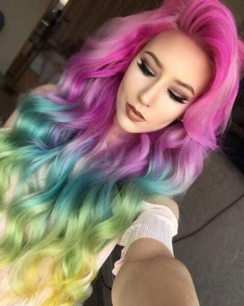 rainbow in hair ombre