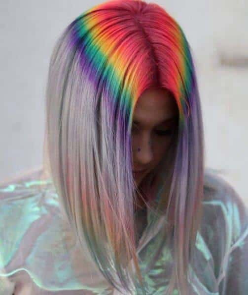 Rainbow hair on top of the head
