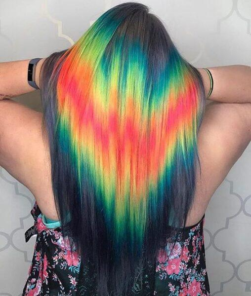 rainbow color hair hologram