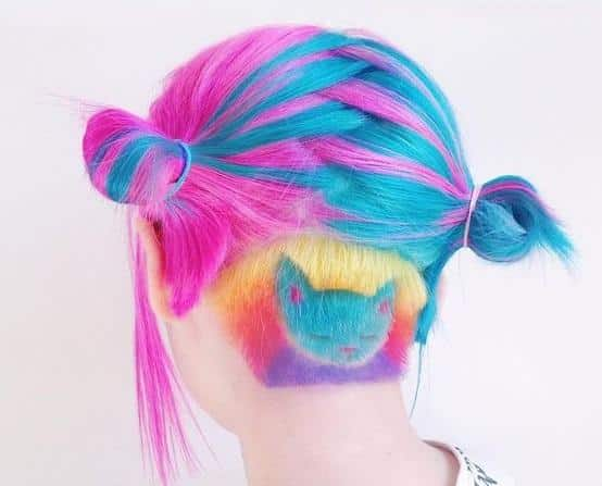 Shaving rainbow colored hair