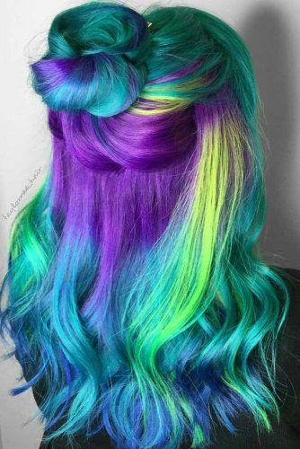The layers of rainbow hair