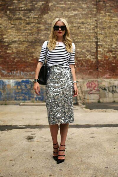 clothes with a metallic effect