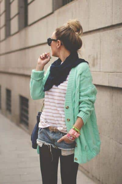 Mint cardigan with shorts