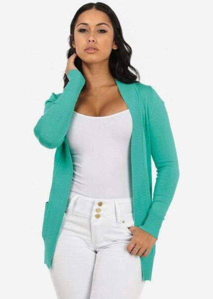 mint cardigan with white