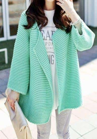 mint green cardigan