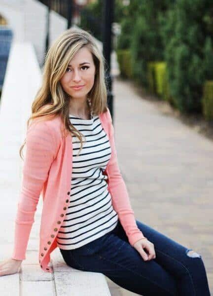 coral cardigan with stripped T-shirt
