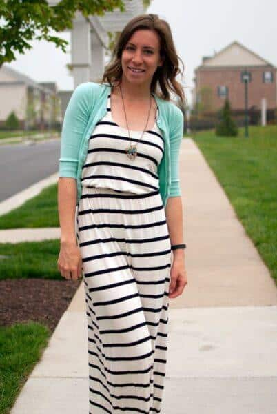 mint cardigan with dress