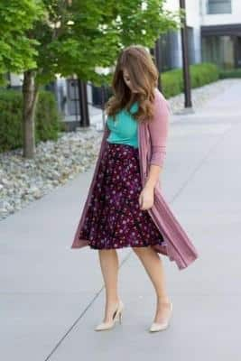skirt with cardigan