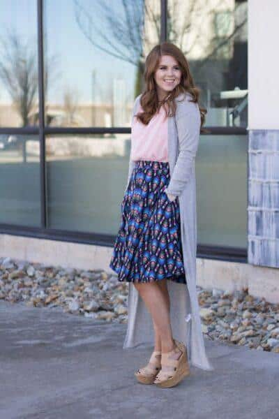 How to wear cardigan with skirt