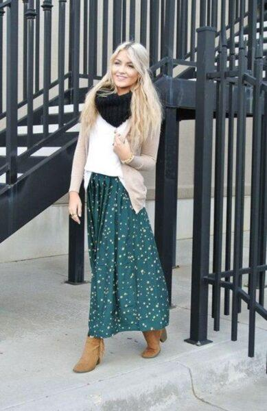 Cardigan with long skirt