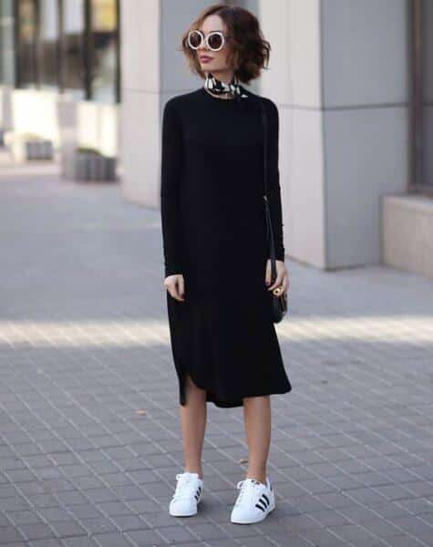 long dress with sneakers