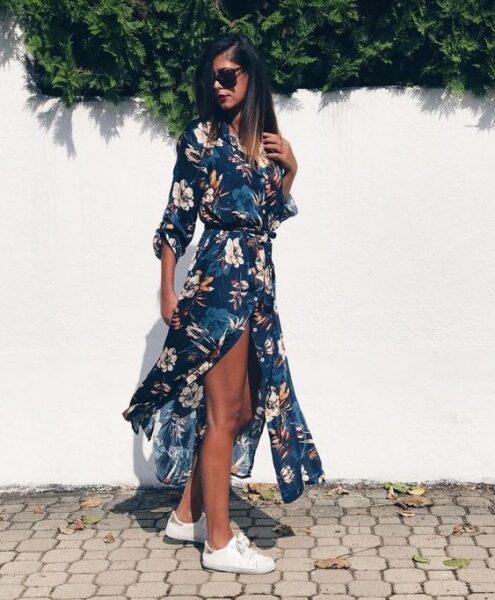 long chiffon dress with sneakers