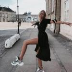 How to style a black dress with sneakers?