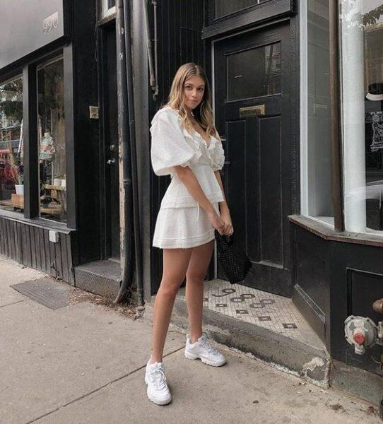 white sneakers with white dress