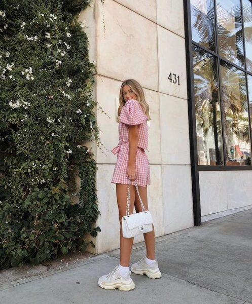 sneakers with pink dress