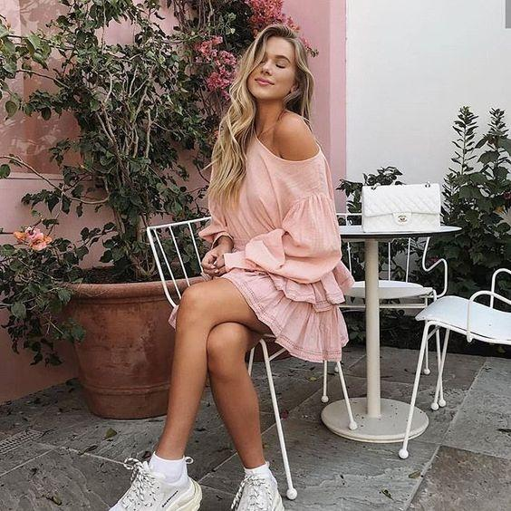 pink dress with sneakers