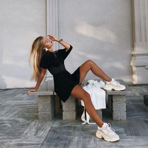 black dress with white sneakers