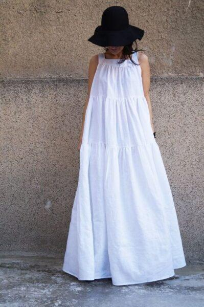 white long oversized dress