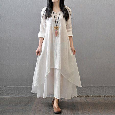 white oversized dress