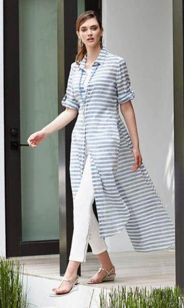 shirtdress and trousers